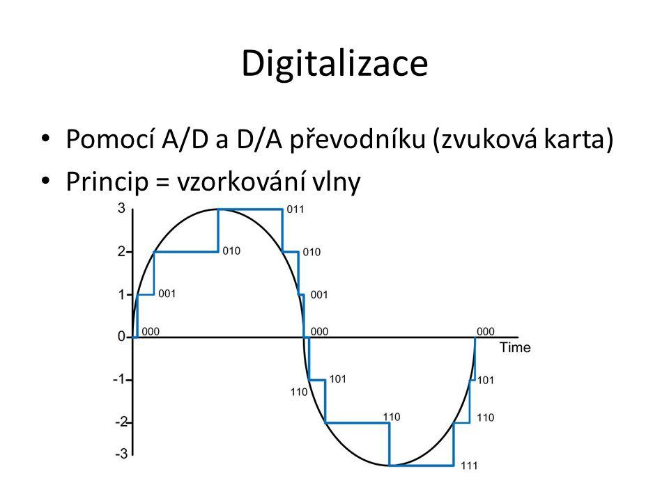 Digitalizace • Pomocí A/D a D/A převodníku (zvuková karta) • Princip = vzorkování vlny