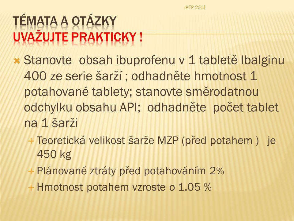  Stanovte obsah ibuprofenu v 1 tabletě Ibalginu 400 ze serie šarží ; odhadněte hmotnost 1 potahované tablety; stanovte směrodatnou odchylku obsahu AP