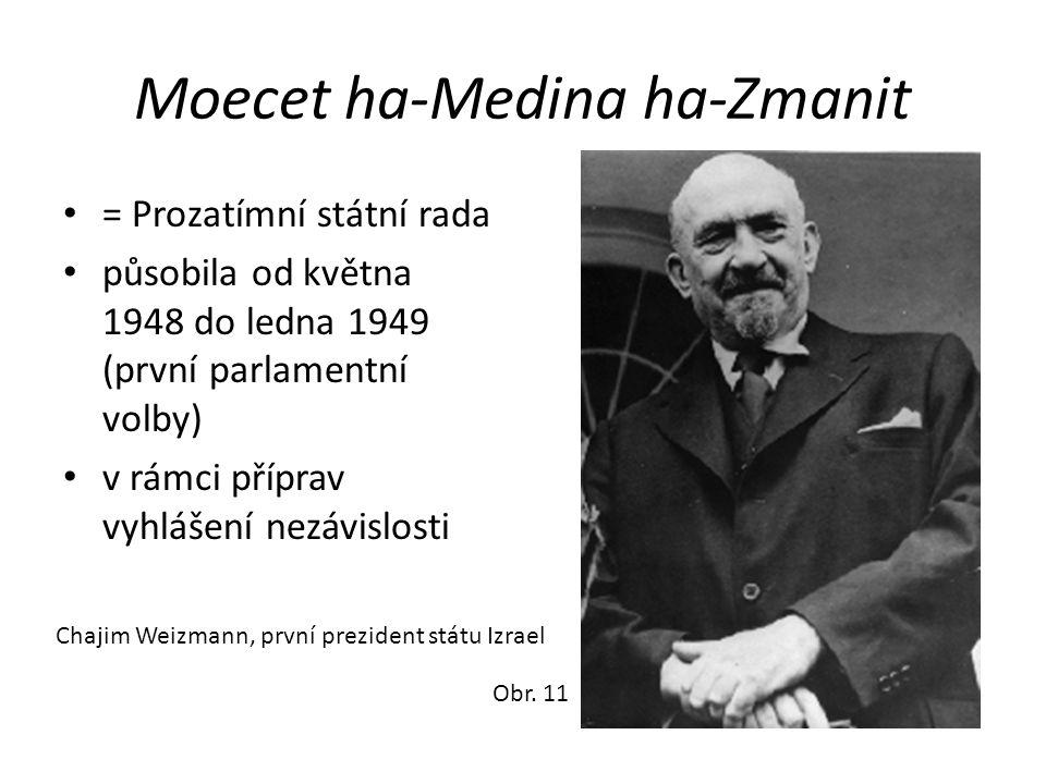 Moecet ha-Medina ha-Zmanit • = Prozatímní státní rada • působila od května 1948 do ledna 1949 (první parlamentní volby) • v rámci příprav vyhlášení ne
