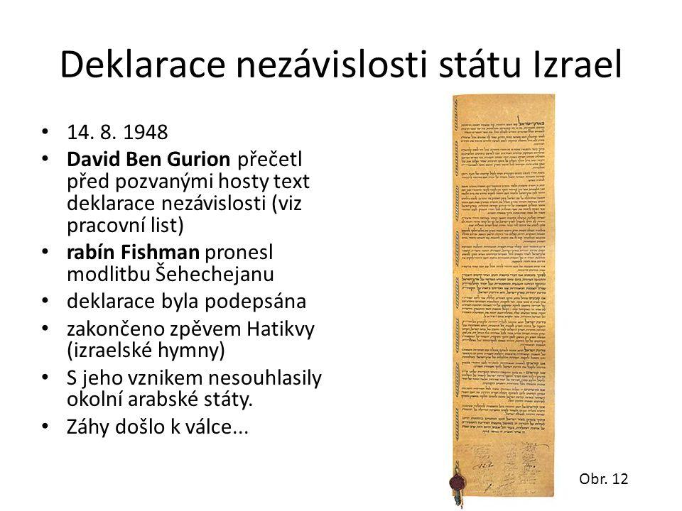 Deklarace nezávislosti státu Izrael • 14. 8. 1948 • David Ben Gurion přečetl před pozvanými hosty text deklarace nezávislosti (viz pracovní list) • ra