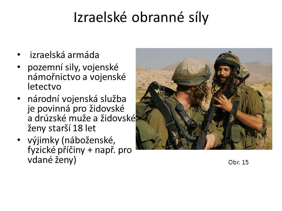 Izraelské obranné síly • izraelská armáda • pozemní sily, vojenské námořnictvo a vojenské letectvo • národní vojenská služba je povinná pro židovské a