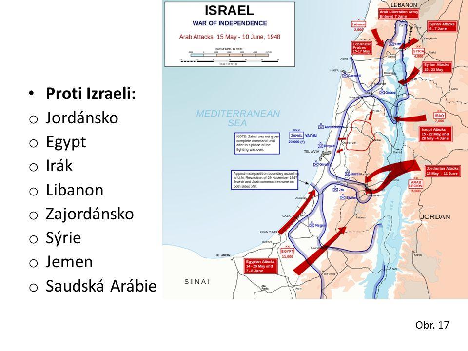 • Proti Izraeli: o Jordánsko o Egypt o Irák o Libanon o Zajordánsko o Sýrie o Jemen o Saudská Arábie Obr. 17