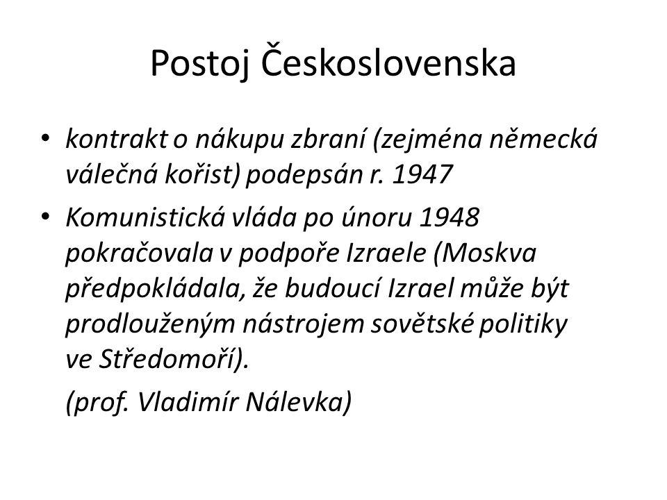 Postoj Československa • kontrakt o nákupu zbraní (zejména německá válečná kořist) podepsán r. 1947 • Komunistická vláda po únoru 1948 pokračovala v po