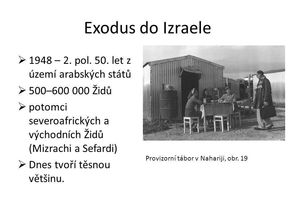 Exodus do Izraele  1948 – 2. pol. 50. let z území arabských států  500–600 000 Židů  potomci severoafrických a východních Židů (Mizrachi a Sefardi)