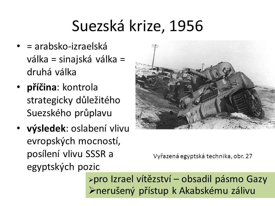 Suezská krize, 1956 • = arabsko-izraelská válka = sinajská válka = druhá válka • příčina: kontrola strategicky důležitého Suezského průplavu • výslede