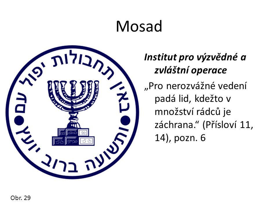 """Mosad Institut pro výzvědné a zvláštní operace """"Pro nerozvážné vedení padá lid, kdežto v množství rádců je záchrana."""" (Přísloví 11, 14), pozn. 6 Obr."""