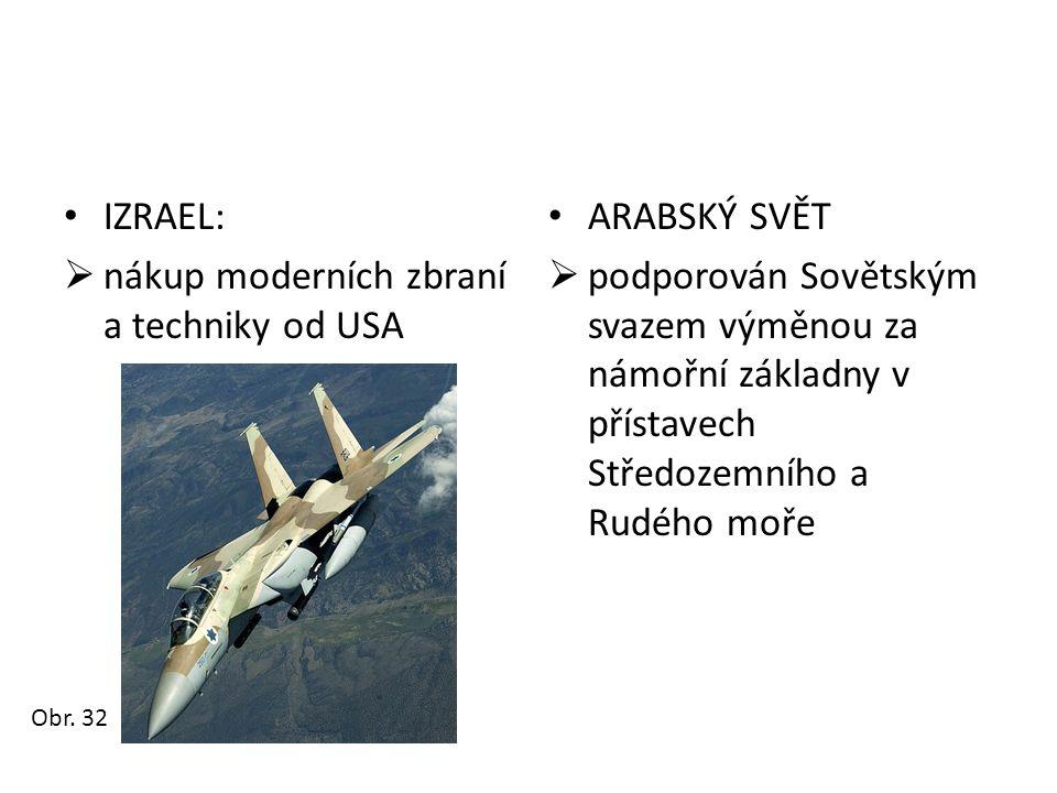 • IZRAEL:  nákup moderních zbraní a techniky od USA • ARABSKÝ SVĚT  podporován Sovětským svazem výměnou za námořní základny v přístavech Středozemní