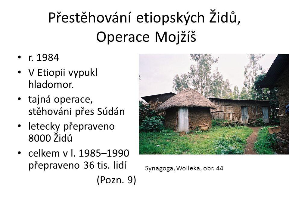 Přestěhování etiopských Židů, Operace Mojžíš • r. 1984 • V Etiopii vypukl hladomor. • tajná operace, stěhováni přes Súdán • letecky přepraveno 8000 Ži