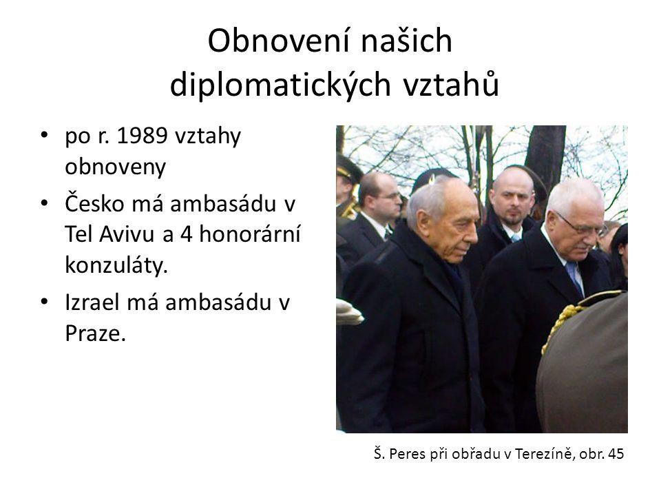 Obnovení našich diplomatických vztahů • po r. 1989 vztahy obnoveny • Česko má ambasádu v Tel Avivu a 4 honorární konzuláty. • Izrael má ambasádu v Pra