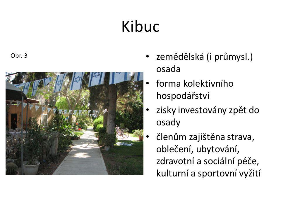 Kibuc • zemědělská (i průmysl.) osada • forma kolektivního hospodářství • zisky investovány zpět do osady • členům zajištěna strava, oblečení, ubytová