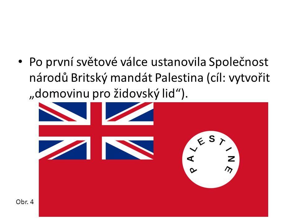 """• Po první světové válce ustanovila Společnost národů Britský mandát Palestina (cíl: vytvořit """"domovinu pro židovský lid""""). Obr. 4"""