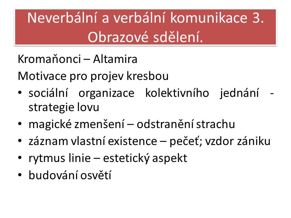 Neverbální a verbální komunikace 3.Obrazové sdělení.