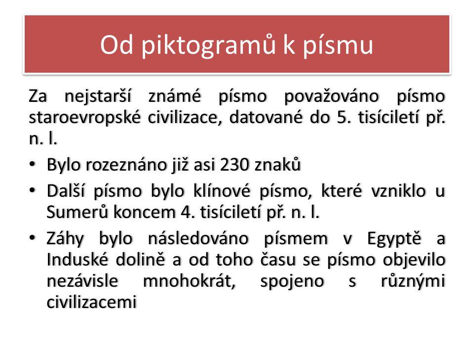 Od piktogramů k písmu Za nejstarší známé písmo považováno písmo staroevropské civilizace, datované do 5.