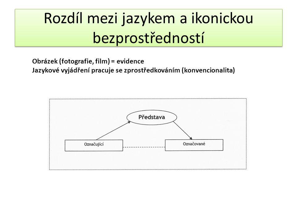 Rozdíl mezi jazykem a ikonickou bezprostředností Obrázek (fotografie, film) = evidence Jazykové vyjádření pracuje se zprostředkováním (konvencionalita)
