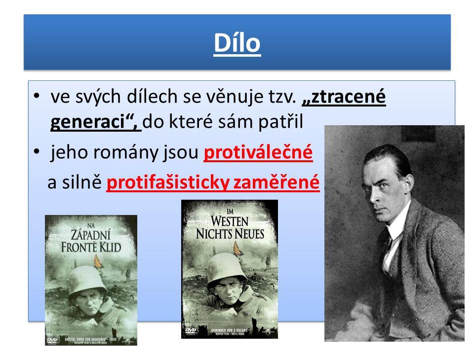 """Nejznámější a nejvýznamnější díla • """"Na západní frontě klid (1929) • """"Cesta zpátky (1931) • """"Tři kamarádi (1936) • """"Miluj bližního svého (1941) • """"Vítězný oblouk (1946) • """"Nebe nezná vyvolených (1961) • """"Na západní frontě klid (1929) • """"Cesta zpátky (1931) • """"Tři kamarádi (1936) • """"Miluj bližního svého (1941) • """"Vítězný oblouk (1946) • """"Nebe nezná vyvolených (1961)"""