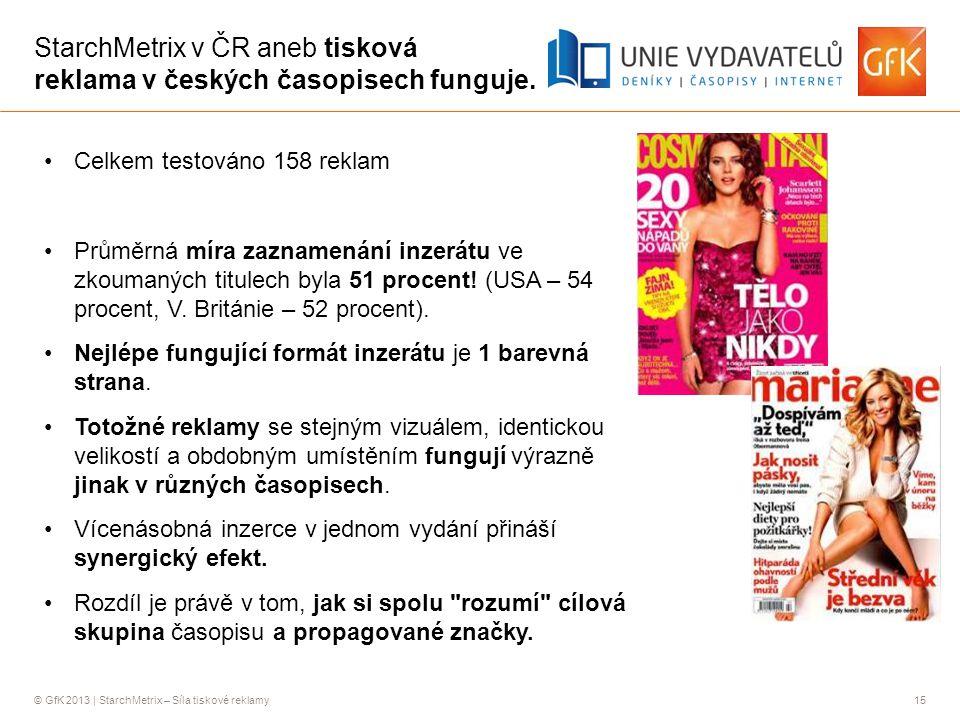 © GfK 2013 | StarchMetrix – Síla tiskové reklamy15 StarchMetrix v ČR aneb tisková reklama v českých časopisech funguje.