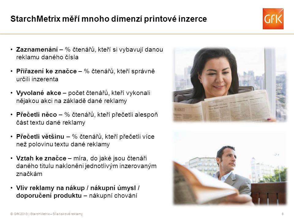 © GfK 2013 | StarchMetrix – Síla tiskové reklamy6 StarchMetrix měří mnoho dimenzí printové inzerce •Zaznamenání – % čtenářů, kteří si vybavují danou r