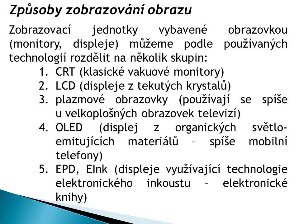 1.CRT (Cathode Ray Tube) monitory  Obrazovku monitoru tvoří velká elektronka.