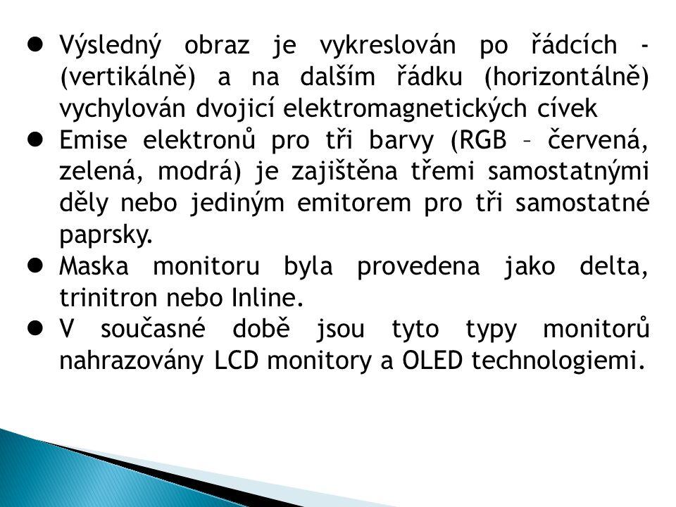 2.LCD (Liquid Crystal Display) monitory  Každý obrazový bod LCD displeje se skládá z molekul tekutých krystalů uložených mezi dvěma průhlednými elektrodami a dvěma polarizačními filtry, osy polarizace filtrů jsou na sebe kolmé.