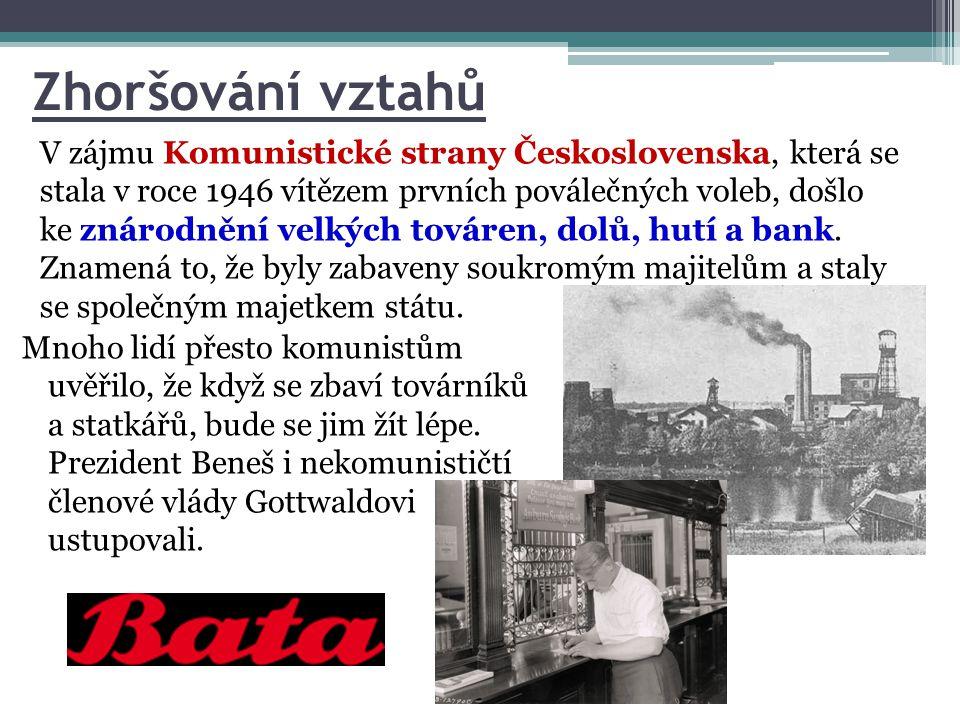 Zhoršování vztahů V zájmu Komunistické strany Československa, která se stala v roce 1946 vítězem prvních poválečných voleb, došlo ke znárodnění velkýc