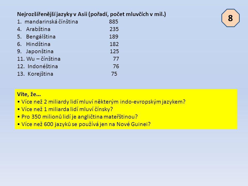 Nejrozšířenější jazyky v Asii (pořadí, počet mluvčích v mil.) 1. mandarinská čínština 885 4. Arabština 235 5. Bengálština 189 6. Hindština 182 9. Japo