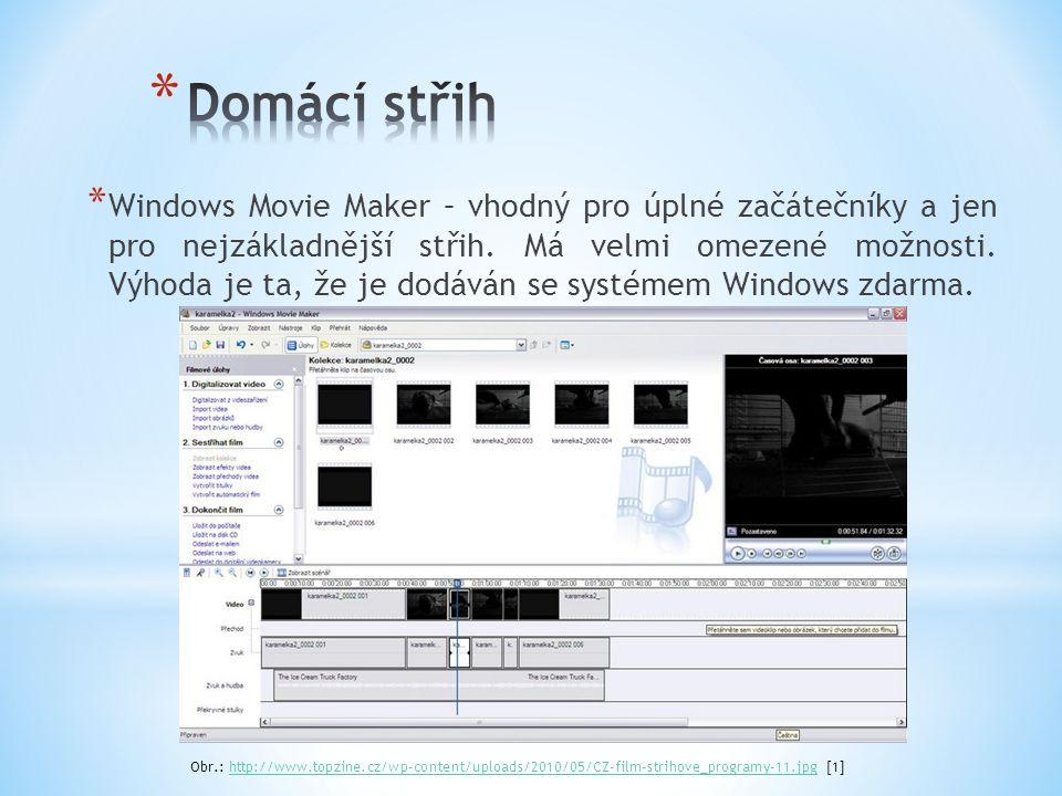 * Windows Movie Maker – vhodný pro úplné začátečníky a jen pro nejzákladnější střih. Má velmi omezené možnosti. Výhoda je ta, že je dodáván se systéme