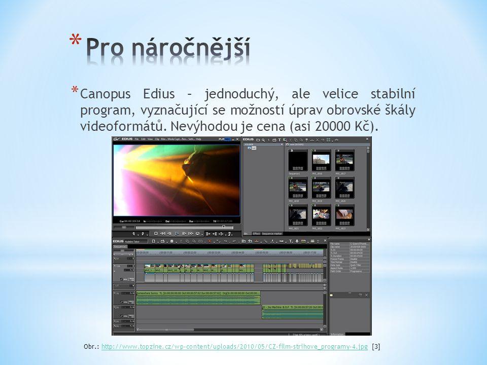* Canopus Edius – jednoduchý, ale velice stabilní program, vyznačující se možností úprav obrovské škály videoformátů. Nevýhodou je cena (asi 20000 Kč)