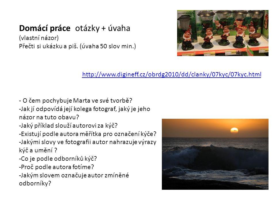 http://www.digineff.cz/obrdg2010/dd/clanky/07kyc/07kyc.html Domácí práce otázky + úvaha (vlastní názor) Přečti si ukázku a piš.