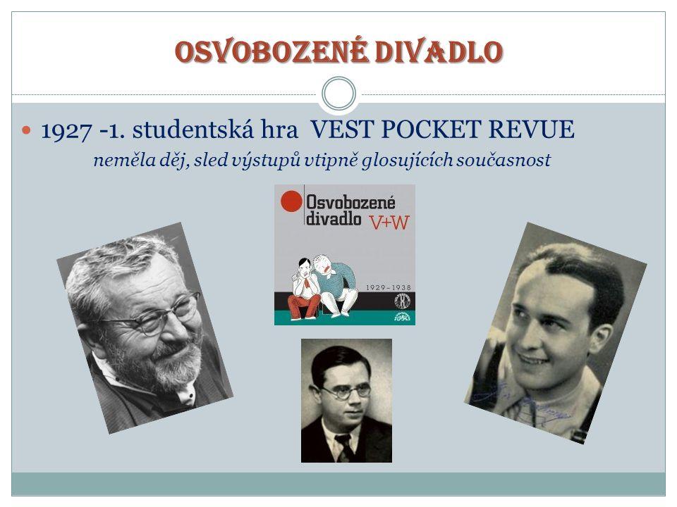 OSVOBOZENÉ DIVADLO  1927 -1. studentská hra VEST POCKET REVUE neměla děj, sled výstupů vtipně glosujících současnost