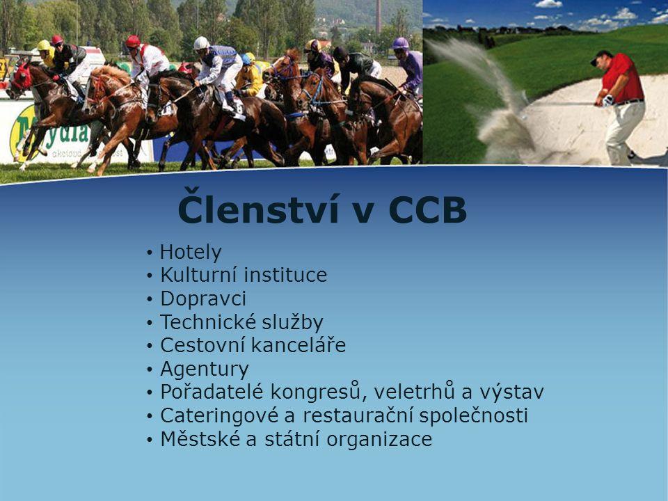 Členství v CCB • Hotely • Kulturní instituce • Dopravci • Technické služby • Cestovní kanceláře • Agentury • Pořadatelé kongresů, veletrhů a výstav •