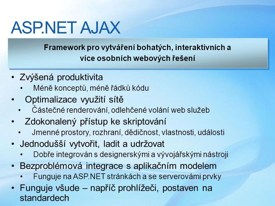 ASP.NET AJAX •Zvýšená produktivita • Méně konceptů, méně řádků kódu •Optimalizace využití sítě •Částečné renderování, odlehčené volání web služeb •Zdokonalený přístup ke skriptování •Jmenné prostory, rozhraní, dědičnost, vlastnosti, události •Jednodušší vytvořit, ladit a udržovat • Dobře integrován s designerskými a vývojářskými nástroji •Bezproblémová integrace s aplikačním modelem • Funguje na ASP.NET stránkách a se serverovámi prvky •Funguje všude – napříč prohlížeči, postaven na standardech Framework pro vytváření bohatých, interaktivních a více osobních webových řešení Framework pro vytváření bohatých, interaktivních a více osobních webových řešení