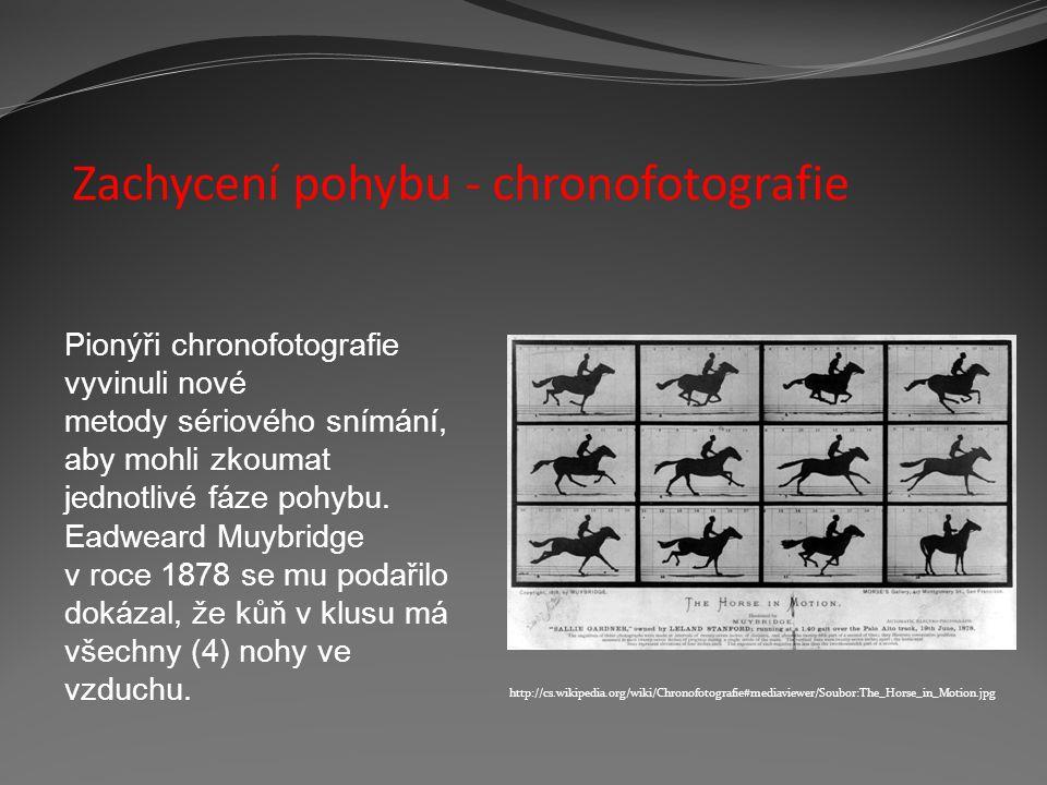 Zachycení pohybu - chronofotografie Pionýři chronofotografie vyvinuli nové metody sériového snímání, aby mohli zkoumat jednotlivé fáze pohybu. Eadwear