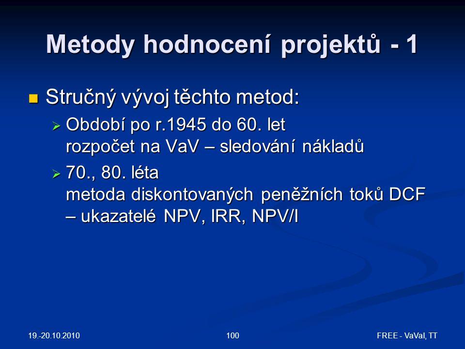 19.-20.10.2010 FREE - VaVaI, TT100 Metody hodnocení projektů - 1  Stručný vývoj těchto metod:  Období po r.1945 do 60.