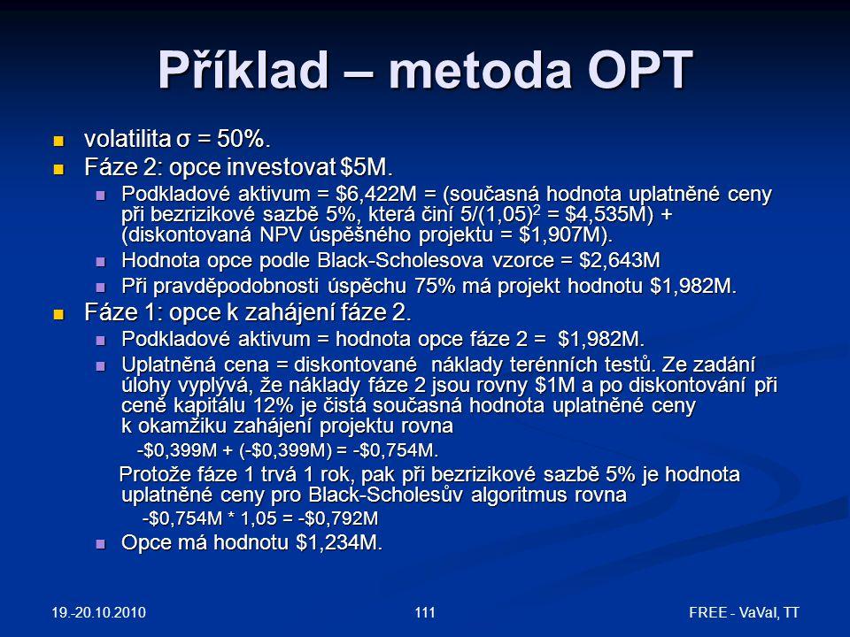 19.-20.10.2010 FREE - VaVaI, TT111  volatilita σ = 50%.