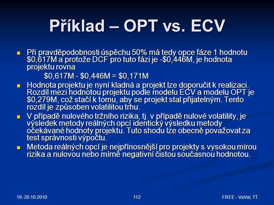 19.-20.10.2010 FREE - VaVaI, TT112 Příklad – OPT vs.