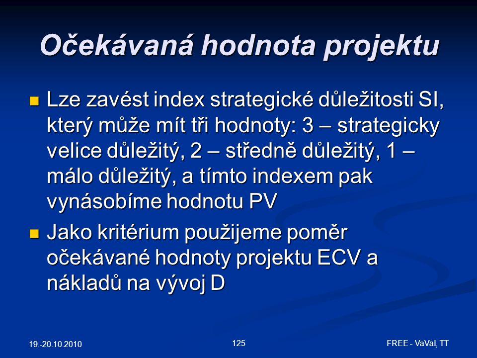 Očekávaná hodnota projektu  Lze zavést index strategické důležitosti SI, který může mít tři hodnoty: 3 – strategicky velice důležitý, 2 – středně důležitý, 1 – málo důležitý, a tímto indexem pak vynásobíme hodnotu PV  Jako kritérium použijeme poměr očekávané hodnoty projektu ECV a nákladů na vývoj D 19.-20.10.2010 125 FREE - VaVaI, TT