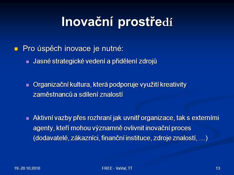 Inovační prostře dí  Pro úspěch inovace je nutné:  Jasné strategické vedení a přidělení zdrojů  Organizační kultura, která podporuje využití kreativity zaměstnanců a sdílení znalostí  Aktivní vazby přes rozhraní jak uvnitř organizace, tak s externími agenty, kteří mohou významně ovlivnit inovační proces (dodavatelé, zákazníci, finanční instituce, zdroje znalostí, …) 19.-20.10.2010 13FREE - VaVaI, TT
