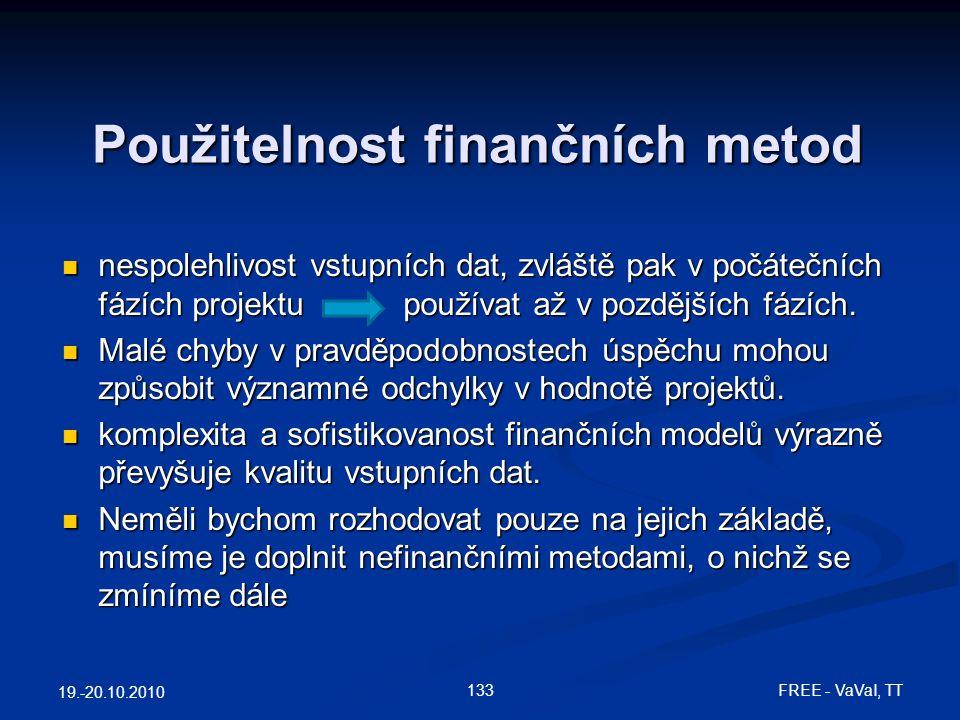 Použitelnost finančních metod  nespolehlivost vstupních dat, zvláště pak v počátečních fázích projektu používat až v pozdějších fázích.