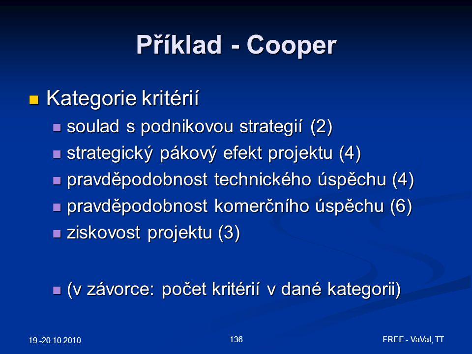 Příklad - Cooper  Kategorie kritérií  soulad s podnikovou strategií (2)  strategický pákový efekt projektu (4)  pravděpodobnost technického úspěchu (4)  pravděpodobnost komerčního úspěchu (6)  ziskovost projektu (3)  (v závorce: počet kritérií v dané kategorii) 19.-20.10.2010 136 FREE - VaVaI, TT