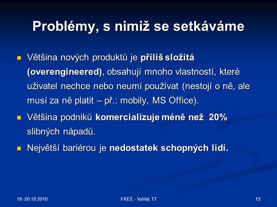 Problémy, s nimiž se setkáváme  Většina nových produktů je příliš složitá (overengineered), obsahují mnoho vlastností, které uživatel nechce nebo neumí používat (nestojí o ně, ale musí za ně platit – př.: mobily, MS Office).