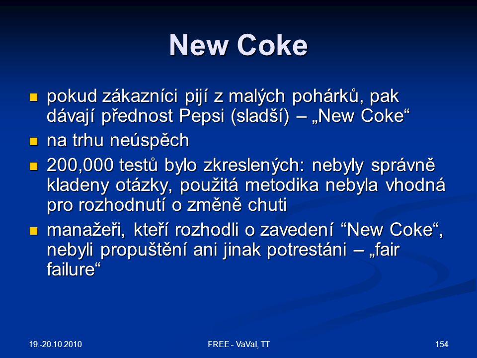 """New Coke  pokud zákazníci pijí z malých pohárků, pak dávají přednost Pepsi (sladší) – """"New Coke  na trhu neúspěch  200,000 testů bylo zkreslených: nebyly správně kladeny otázky, použitá metodika nebyla vhodná pro rozhodnutí o změně chuti  manažeři, kteří rozhodli o zavedení New Coke , nebyli propuštění ani jinak potrestáni – """"fair failure 19.-20.10.2010 154FREE - VaVaI, TT"""