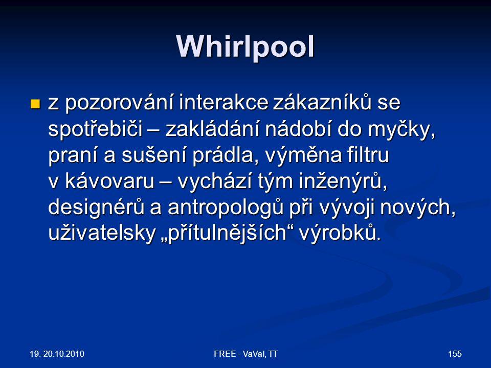 """Whirlpool  z pozorování interakce zákazníků se spotřebiči – zakládání nádobí do myčky, praní a sušení prádla, výměna filtru v kávovaru – vychází tým inženýrů, designérů a antropologů při vývoji nových, uživatelsky """"přítulnějších výrobků."""