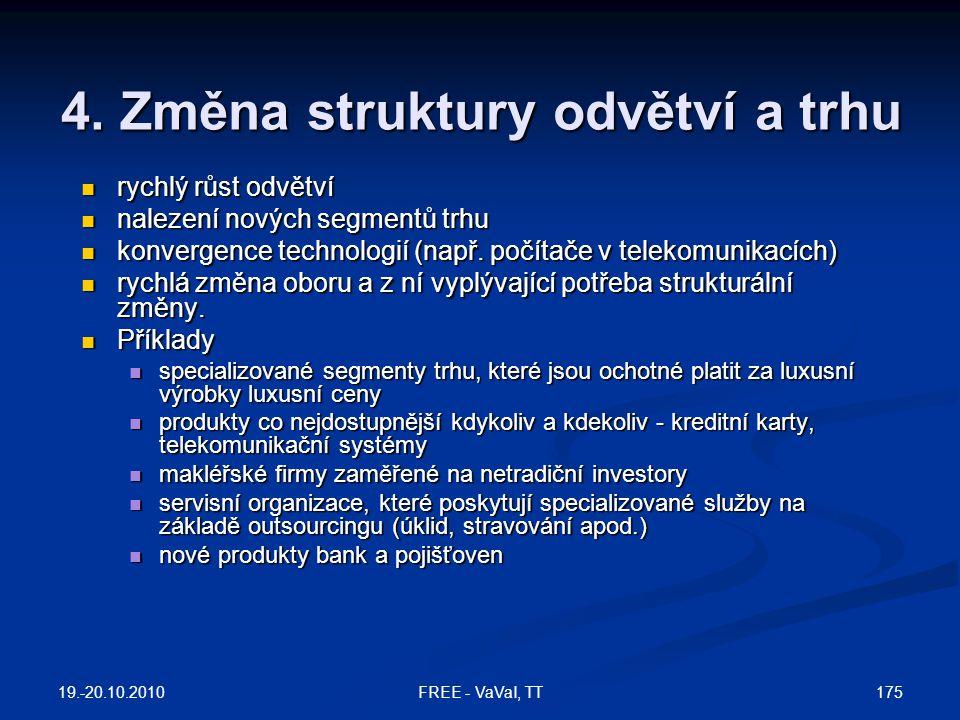 4. Změna struktury odvětví a trhu  rychlý růst odvětví  nalezení nových segmentů trhu  konvergence technologií (např. počítače v telekomunikacích)