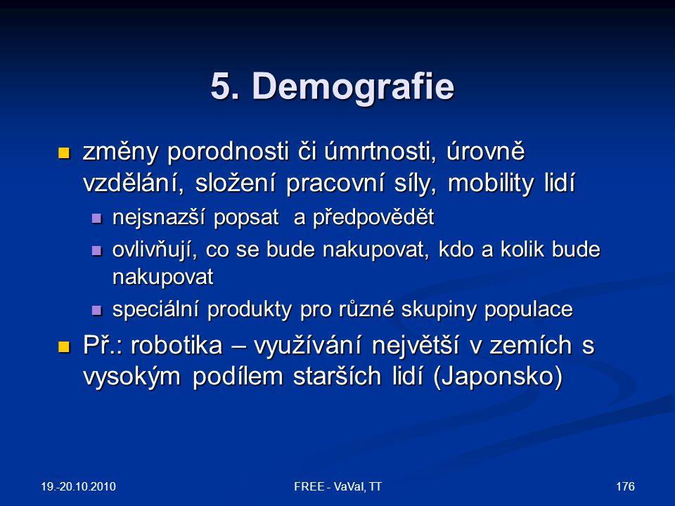 5. Demografie  změny porodnosti či úmrtnosti, úrovně vzdělání, složení pracovní síly, mobility lidí  nejsnazší popsat a předpovědět  ovlivňují, co