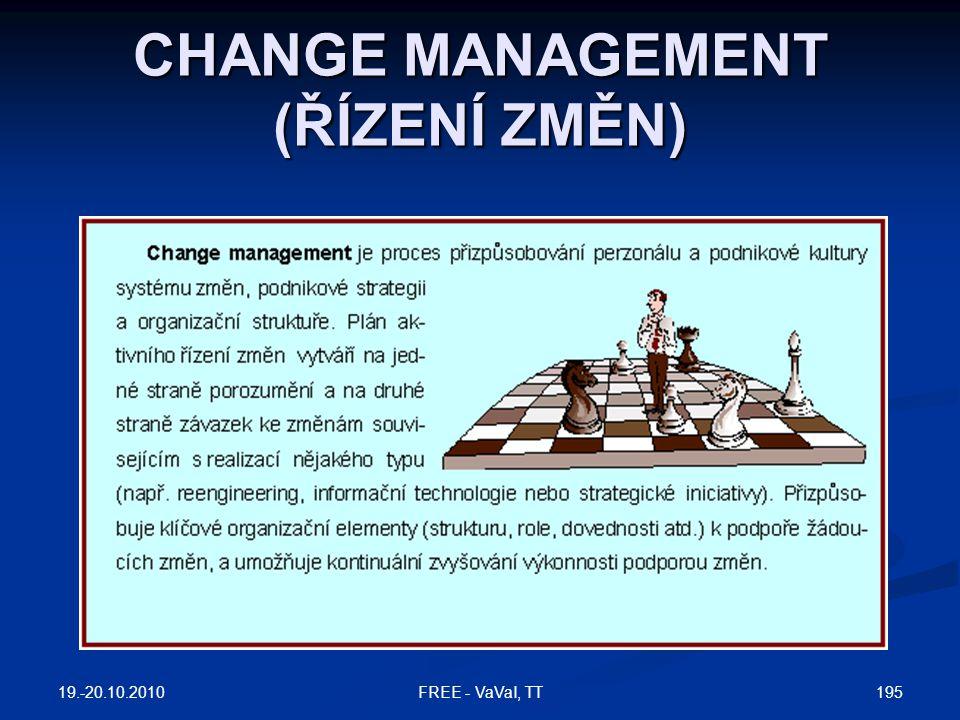CHANGE MANAGEMENT (ŘÍZENÍ ZMĚN) 19.-20.10.2010 195FREE - VaVaI, TT