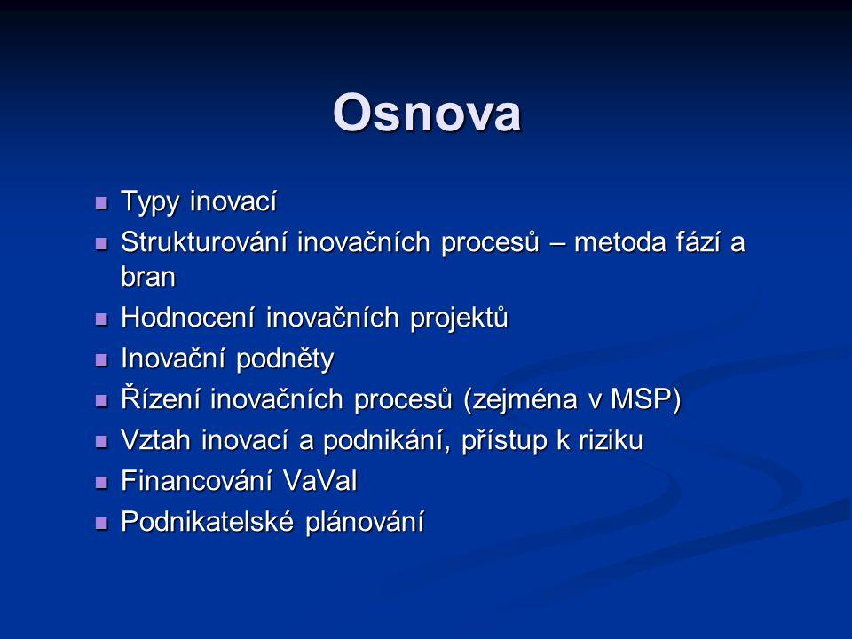 Osnova  Typy inovací  Strukturování inovačních procesů – metoda fází a bran  Hodnocení inovačních projektů  Inovační podněty  Řízení inovačních procesů (zejména v MSP)  Vztah inovací a podnikání, přístup k riziku  Financování VaVaI  Podnikatelské plánování