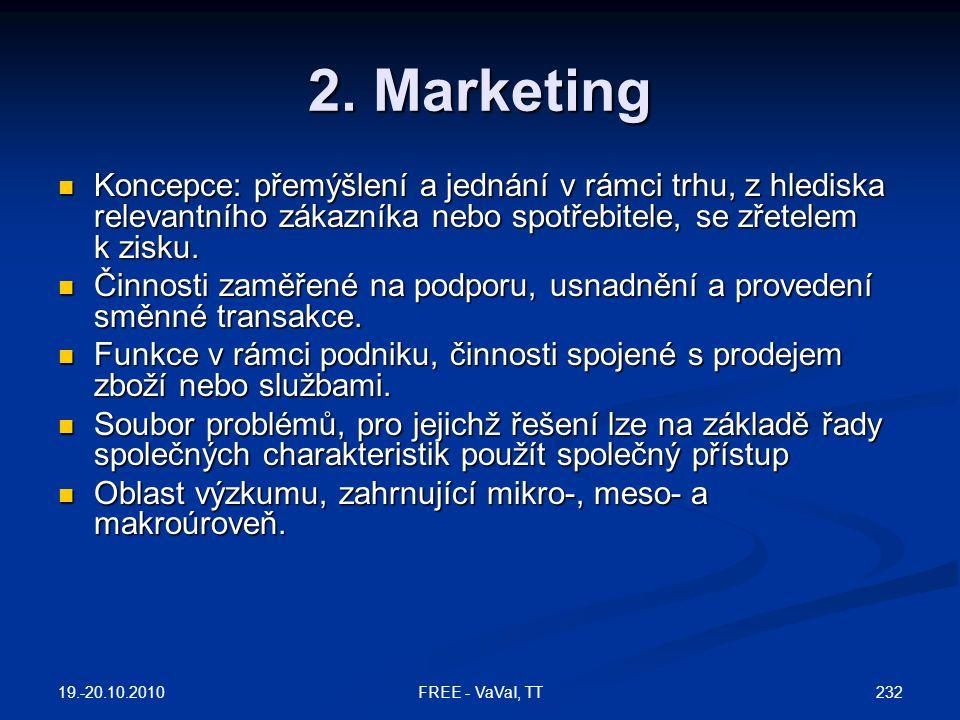 2. Marketing  Koncepce: přemýšlení a jednání v rámci trhu, z hlediska relevantního zákazníka nebo spotřebitele, se zřetelem k zisku.  Činnosti zaměř