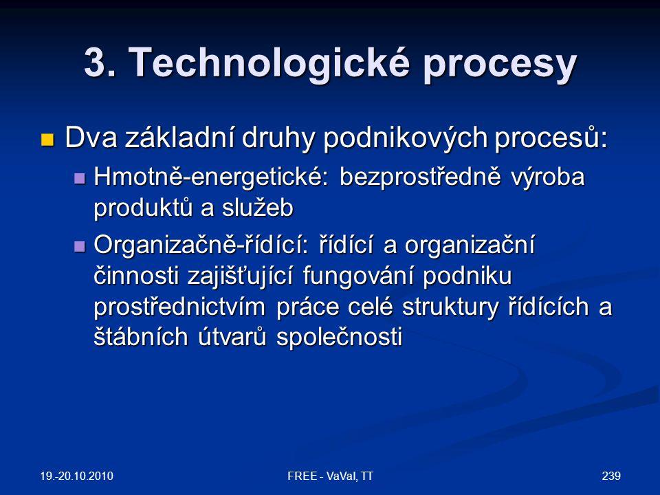 3. Technologické procesy  Dva základní druhy podnikových procesů:  Hmotně-energetické: bezprostředně výroba produktů a služeb  Organizačně-řídící: