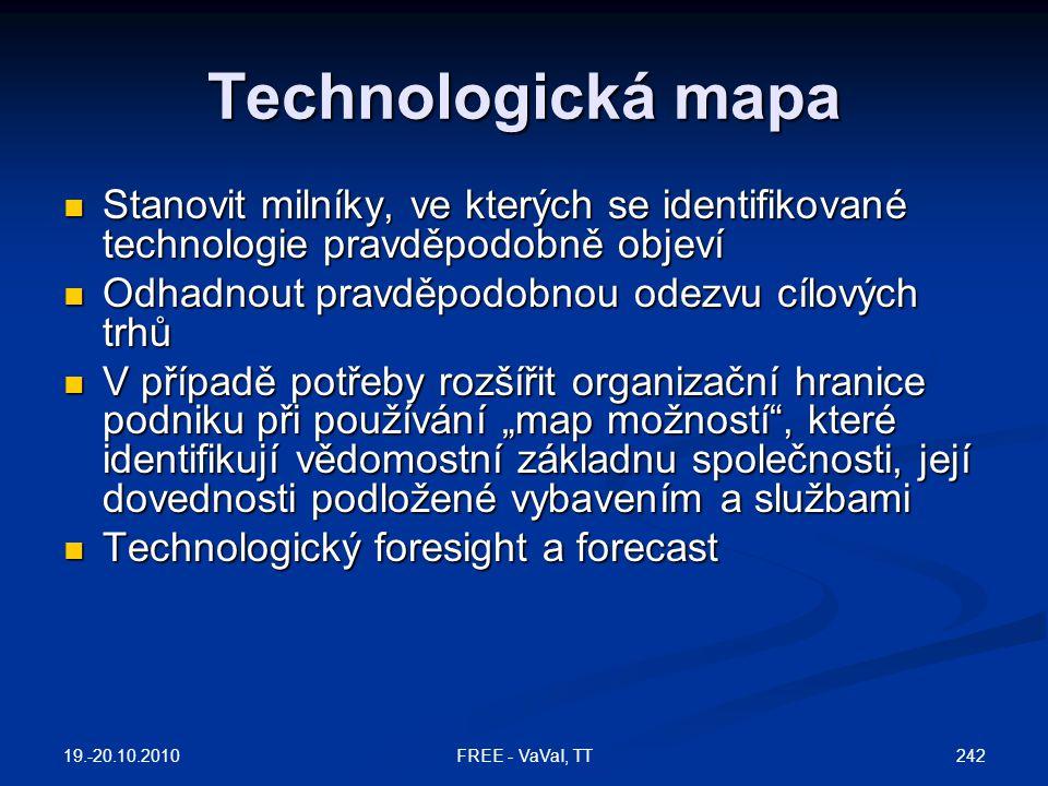 """Technologická mapa  Stanovit milníky, ve kterých se identifikované technologie pravděpodobně objeví  Odhadnout pravděpodobnou odezvu cílových trhů  V případě potřeby rozšířit organizační hranice podniku při používání """"map možností , které identifikují vědomostní základnu společnosti, její dovednosti podložené vybavením a službami  Technologický foresight a forecast 19.-20.10.2010 242FREE - VaVaI, TT"""