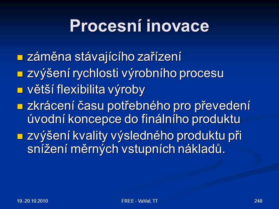 Procesní inovace  záměna stávajícího zařízení  zvýšení rychlosti výrobního procesu  větší flexibilita výroby  zkrácení času potřebného pro převedení úvodní koncepce do finálního produktu  zvýšení kvality výsledného produktu při snížení měrných vstupních nákladů.